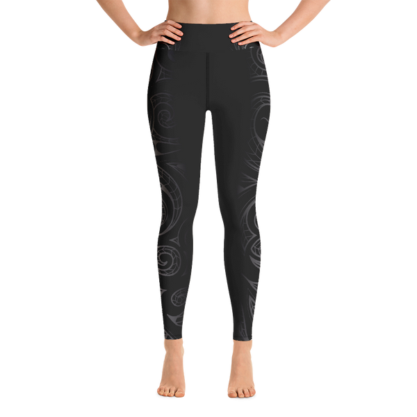 Malosi Samoan- Maori Fusion Tattoo Long Yoga Pants / Leggings - Short Inseam Available & Sizes up to 3XL