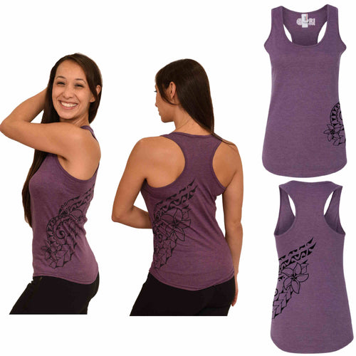 Heather Purple racerback Polynesian tattoo print tank