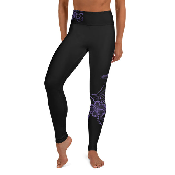 Hawaiian Hibiscus Tattoo Long Yoga Leggings - 7 Colors Available - Regular, Wide Band, & Plus Size