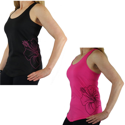 Hawaiian Hibiscus Tattoo Polyester / Cotton Racerback Tank in Pink and Black