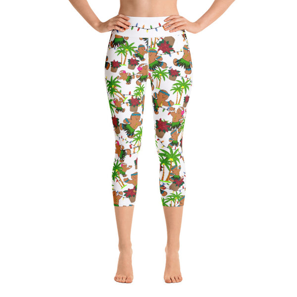 Christmas in Hawaii Capri Leggings (Design 2) - 4 Color Choices & Regular or Wide Waistband