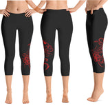 Hawaiian Hibiscus Tattoo Crop Yoga Pants - 7 colors available & 2 Band Widths