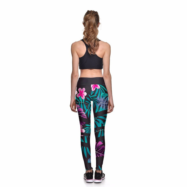 Plumeria and Tropical Hawaiian Fern Long Yoga Pants / Leggings - sizes up to 4XL