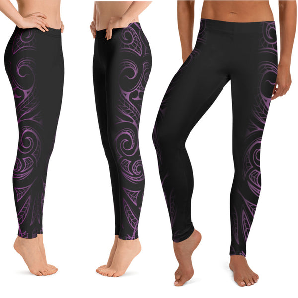 Purple Hawaiian tattoo leggings