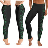 Polynesian green leggings