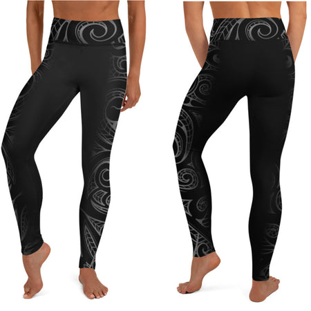 Black Yoga 7/8 Pants with Mesh inserts - the Aloha Collection