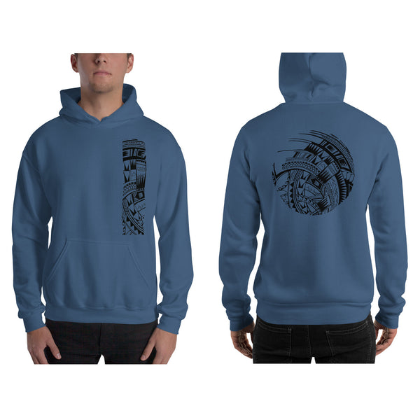 Steel Blue Polynesian Samoan tattoo Hawaiian Hooded Sweatshirt