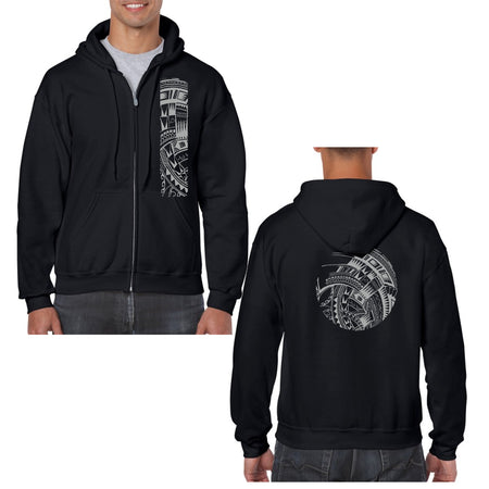 Men's Long Sleeve Cotton Shirt with Samoan Tattoo Print