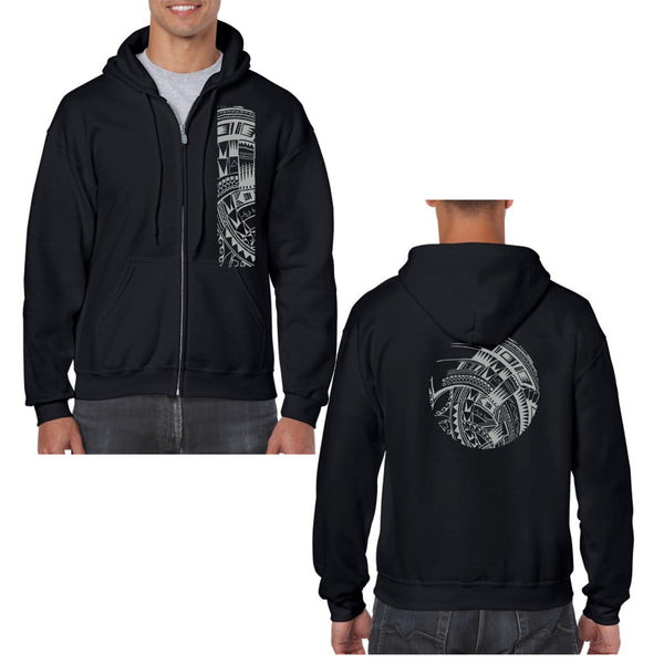 Heavy Blend Full-Zip Hooded Sweatshirt (Hoodie)- Mahina Samoan Tattoo Collection