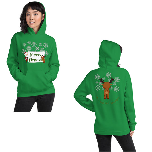 Christmas - Merry Fitness and a Happy New Rear Unisex Hoodie