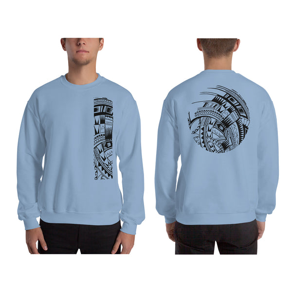 Light Blue Polynesian Samoan tattoo Hawaiian Sweatshirt