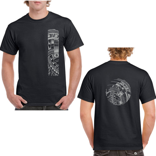 Men's Short Sleeve Heavy Weight Cotton T Shirt with Samoan Tattoo Print - Mahina Collection - sizes up to 5XL