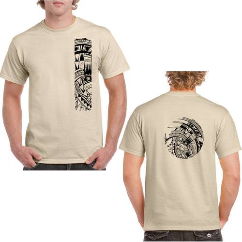 Men's Short Sleeve Heavy Weight Cotton T Shirt with Samoan Tattoo Print - Mahina Collection