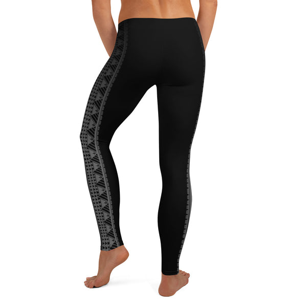 Kuahiwi Maunakea Style Samoan Polynesian Tattoo Pattern Print Leggings - Plus Sizes Available