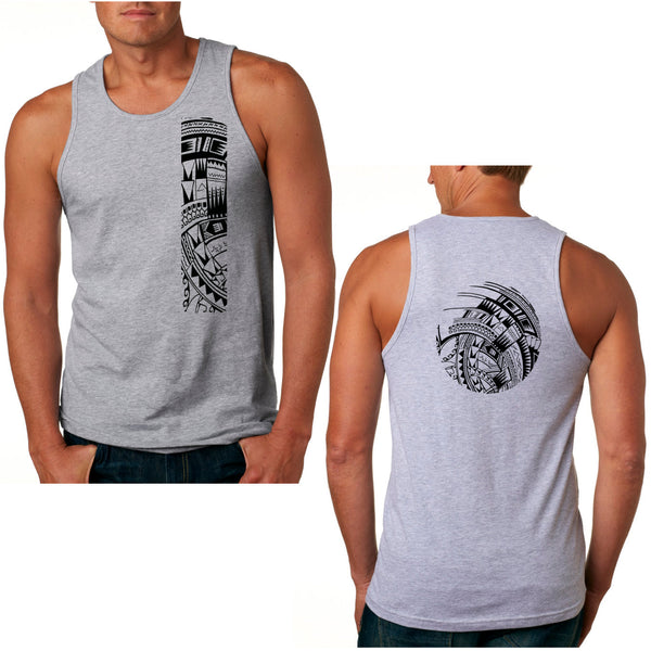 Samoan tattoo tank gray