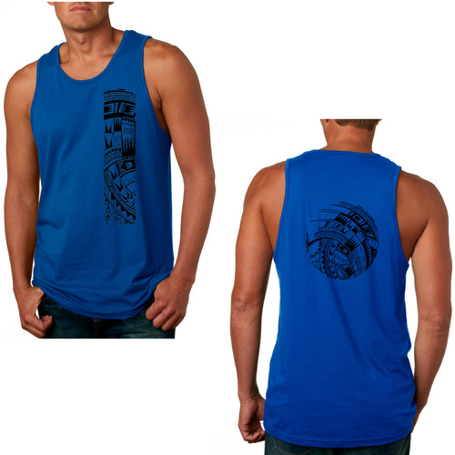 Men's Cotton Tank with Samoan Tattoo Print - Mahina Collection