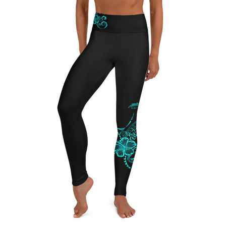 Green & White Hibiscus and Fern Yoga Set - Yoga Racerback Halter Top & Long Leggings