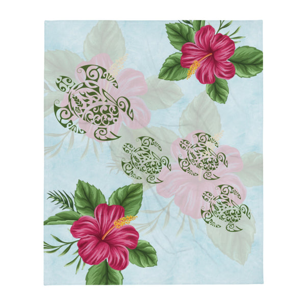 "Hibiscus and Honu (Hawaiian Turtle) super soft Throw Blanket - E hele me ka pu'olo (also available without Hawaiian saying)- Size - 50"" X 60"""