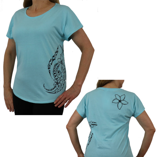 Women's Short Sleeve Relaxed Fit T-Shirt - Triple Plumeria Hawaiian Tattoo Design - sizes up to 3XL