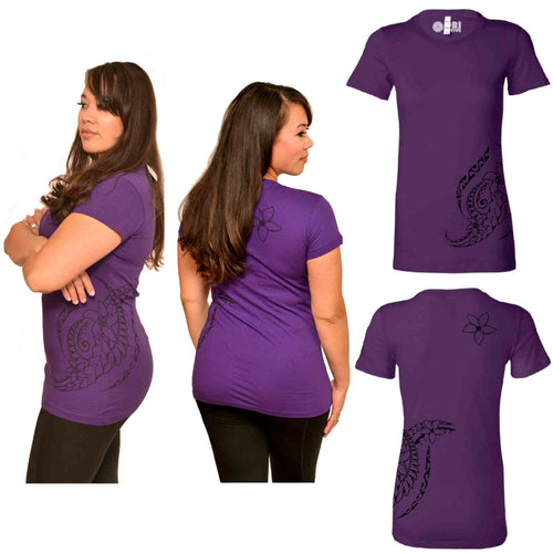 Purple Plumeria tattoo print Polynesian t-shirt
