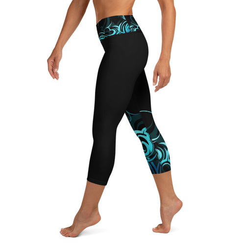 Wave Pattern Capri Yoga Pants - 2 Band Styles Available (Regular and Wide)