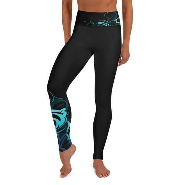Wave Pattern Long Yoga Leggings - 2 Bands Available (Regular and Wide) & Plus Sizes