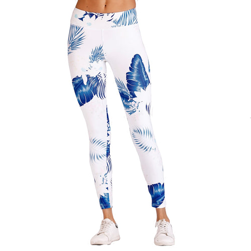 White and Blue Hawaiian Fern & Floral Long Yoga Pants / Leggings