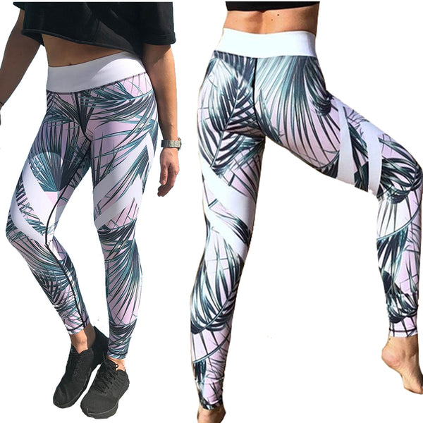 Pale Pink and Green Tropical Fern Long Yoga Pants / Leggings with White Accents