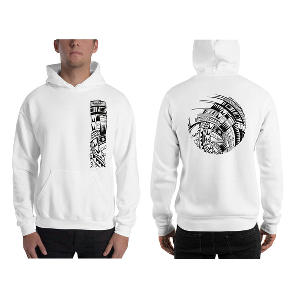 White Polynesian Samoan tattoo Hawaiian Hooded Sweatshirt