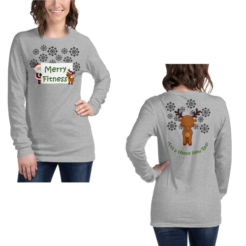 Christmas - Merry Fitness and a Happy New Rear Women's Long Sleeve Tee