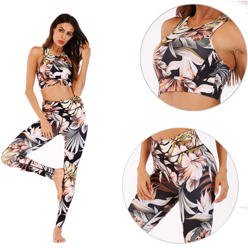 Cream and Black Hibiscus and Fern Yoga Set - Yoga Racerback Halter Top & Long Leggings