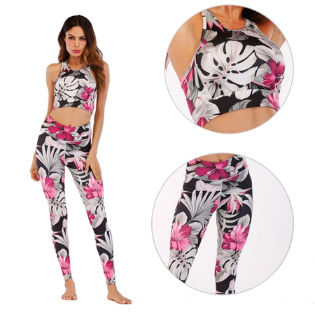 Green & White Tropical Fern Yoga Set - Yoga Criss Cross Bra Top & Long Leggings