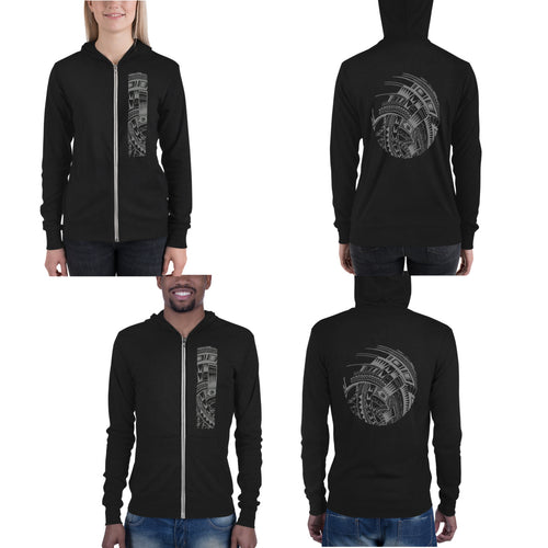 Black Polynesian Samoan tattoo Hawaiian Hooded Sweatshirt Zip Up Hoodie