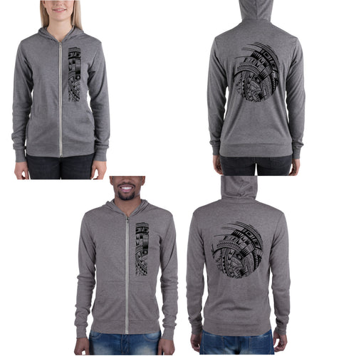 Gray Grey Polynesian Samoan tattoo Hawaiian Hooded Sweatshirt Zip Up Hoodie