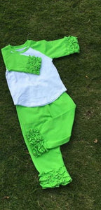 Lime Green Ruffles - Momma G's Children's Boutique, Screen Printing, Embroidery & More