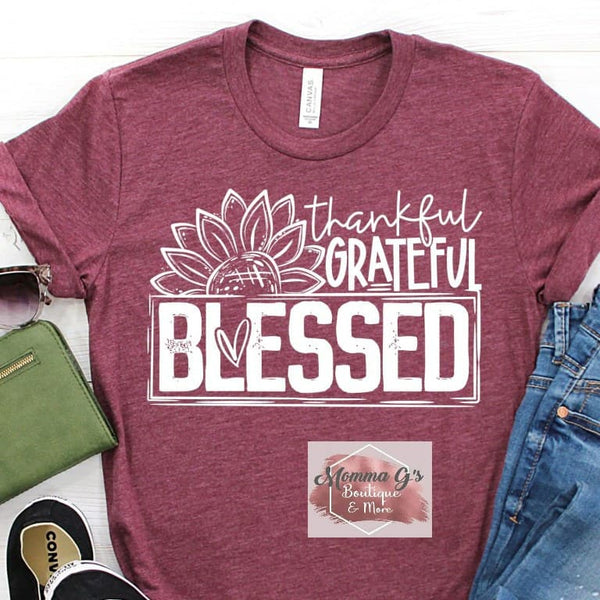 Thankful Grateful Blessed with Sunflower - Momma G's Boutique