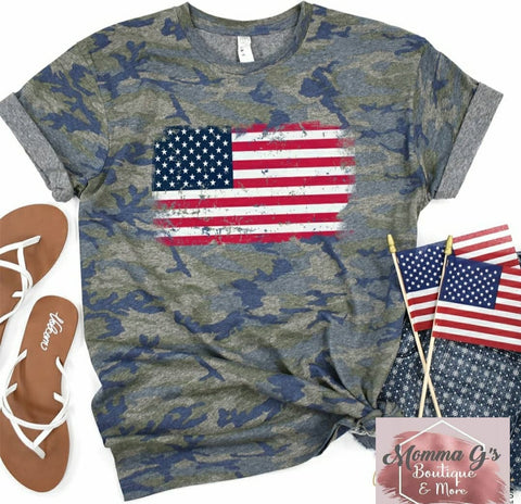 American flag and camo combo T-shirt