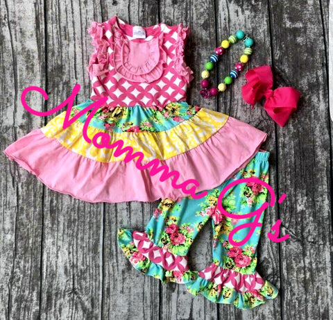 Pink and Yellow Capri Set - Momma G's Boutique