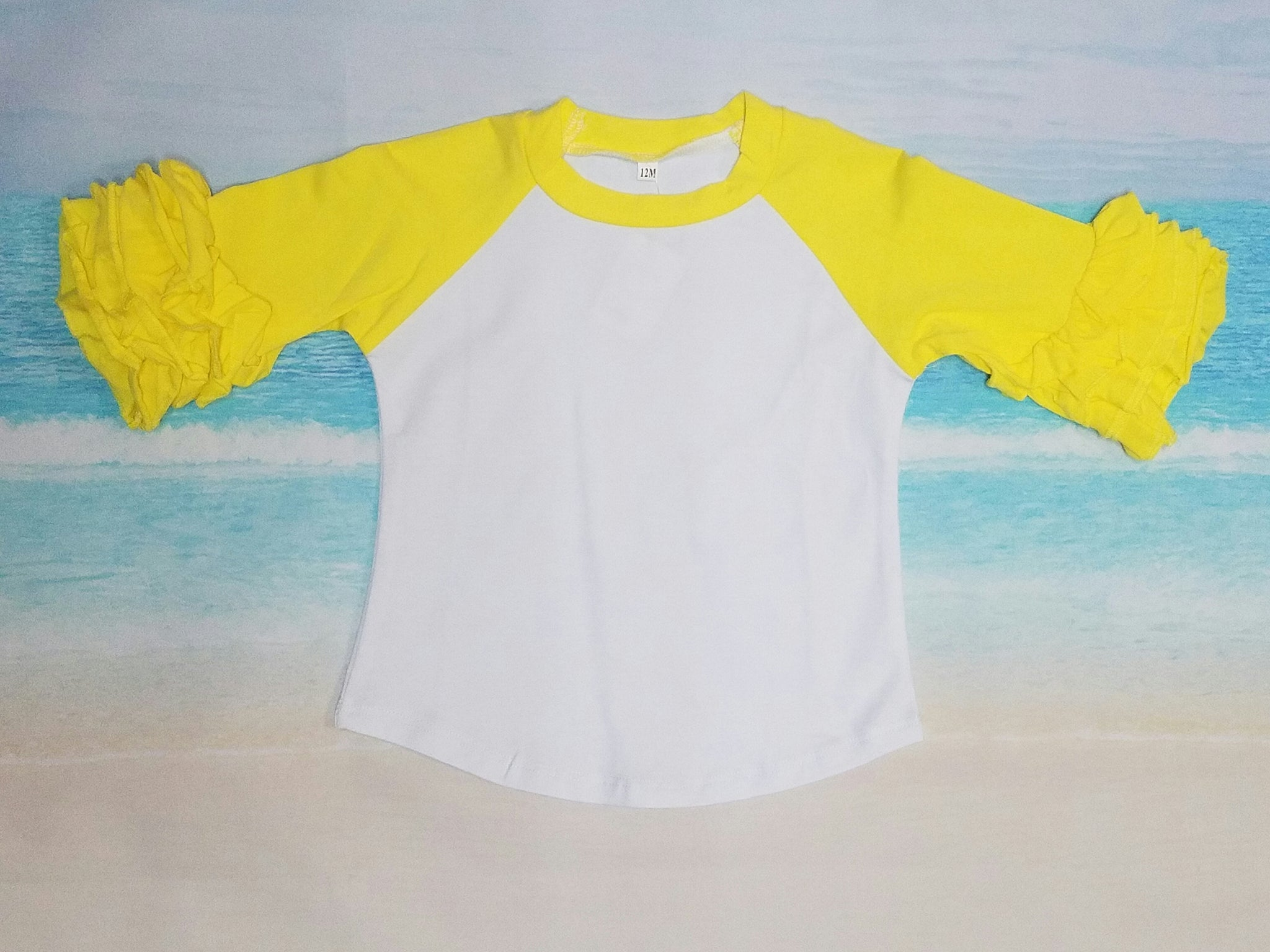 Yellow Ruffle Raglan - Momma G's Boutique