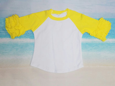 Yellow Ruffle Raglan - Momma G's Children's Boutique, Screen Printing, Embroidery & More