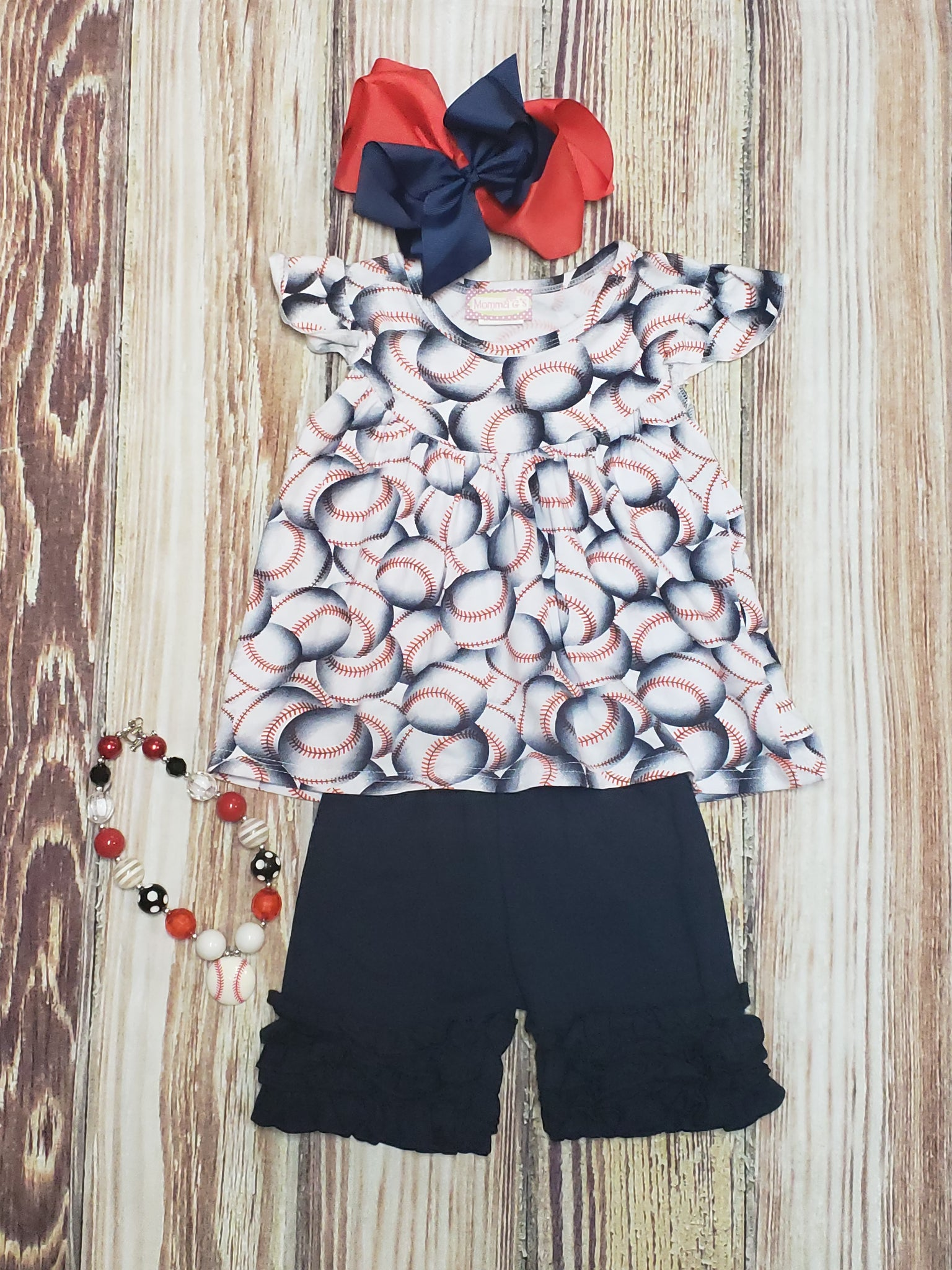 Girls Navy Baseball Set - Momma G's Children's Boutique, Screen Printing, Embroidery & More