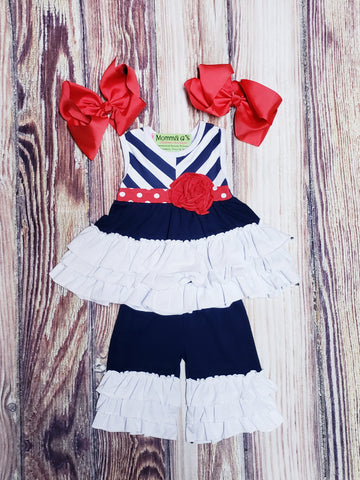 Navy, Red & White Ruffle Set - Momma G's Boutique