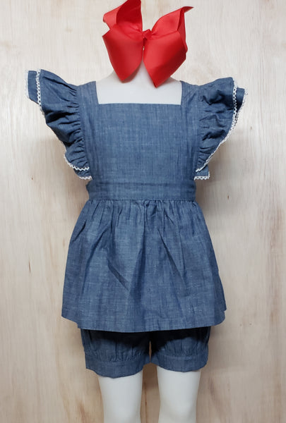 Flutter Sleeve Chambray - Momma G's Boutique