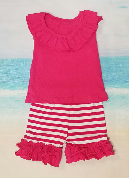 Pink Ruffle Shorts Set - Momma G's Screen Printing, Embroidery & More