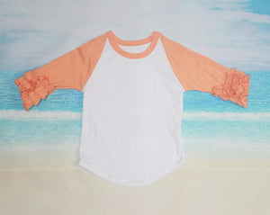 Coral Raglan with Ruffles - Momma G's Children's Boutique, Screen Printing, Embroidery & More