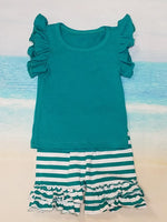 Teal Ruffle Shorts Set - Momma G's Screen Printing, Embroidery & More