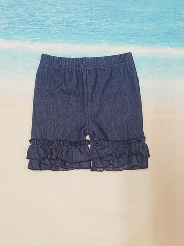 Denim Ruffle Shorties - Momma G's Boutique