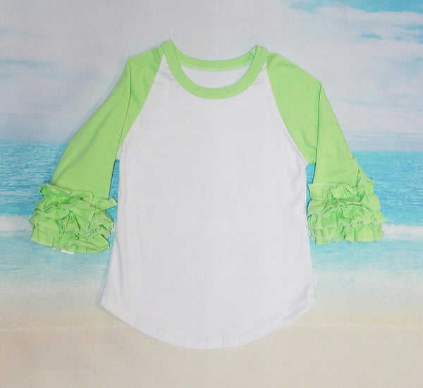 Lime Green Ruffle Raglan - Momma G's Screen Printing, Embroidery & More