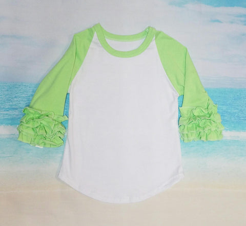Lime Green Ruffle Raglan - Momma G's Children's Boutique, Screen Printing, Embroidery & More