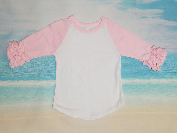 Pale Pink Ruffle Raglan - Momma G's Screen Printing, Embroidery & More